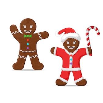 ジンジャーブレッドマン。クリスマスのクッキーの休日、甘い食べ物、伝統的なビスケット、ベクトルイラスト