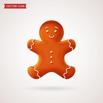 Пряничный человечек. рождественское печенье. вектор цветные реалистичные значок.