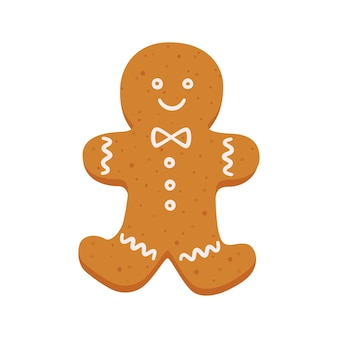 Gingerbread man christmas cookies isolated vector objects on white background