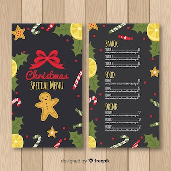 Gingerbread man christmas menu