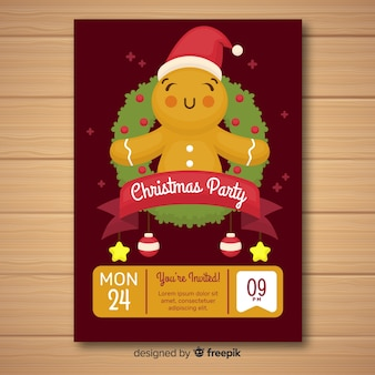 Gingerbread man christmas party poster template