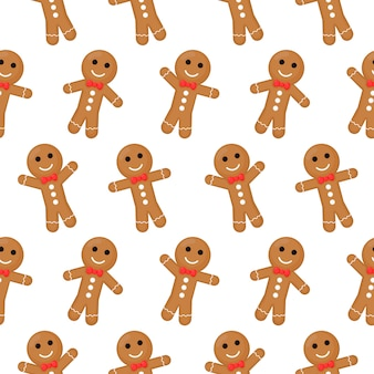 Gingerbread man christmas seamless pattern. cookies  isolated on white background.