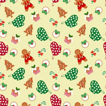 Gingerbread man and christmas seamless pattern.