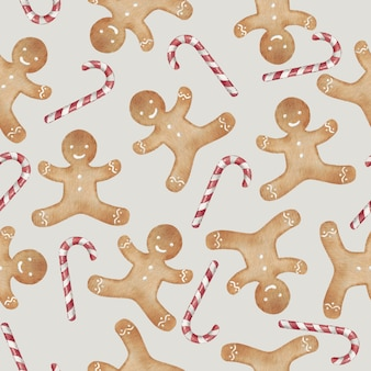 Gingerbread man cookie and candy cane seamless pattern