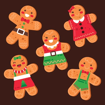 Gingerbread man cookie collection in flat design