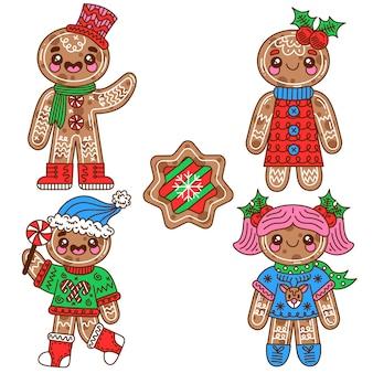 Collezione di biscotti gingerbread man in design piatto
