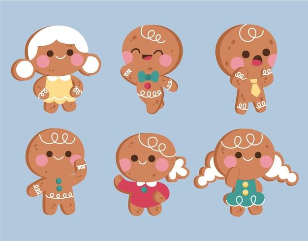 Коллекция печенья пряничный человечек в плоском дизайне