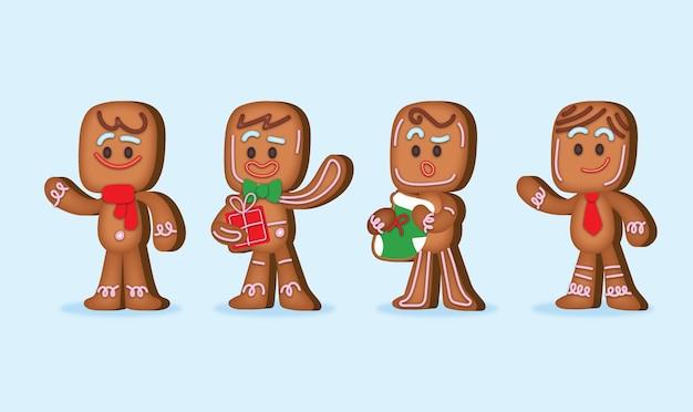평면 디자인에 진저 브레드 남자 쿠키 컬렉션