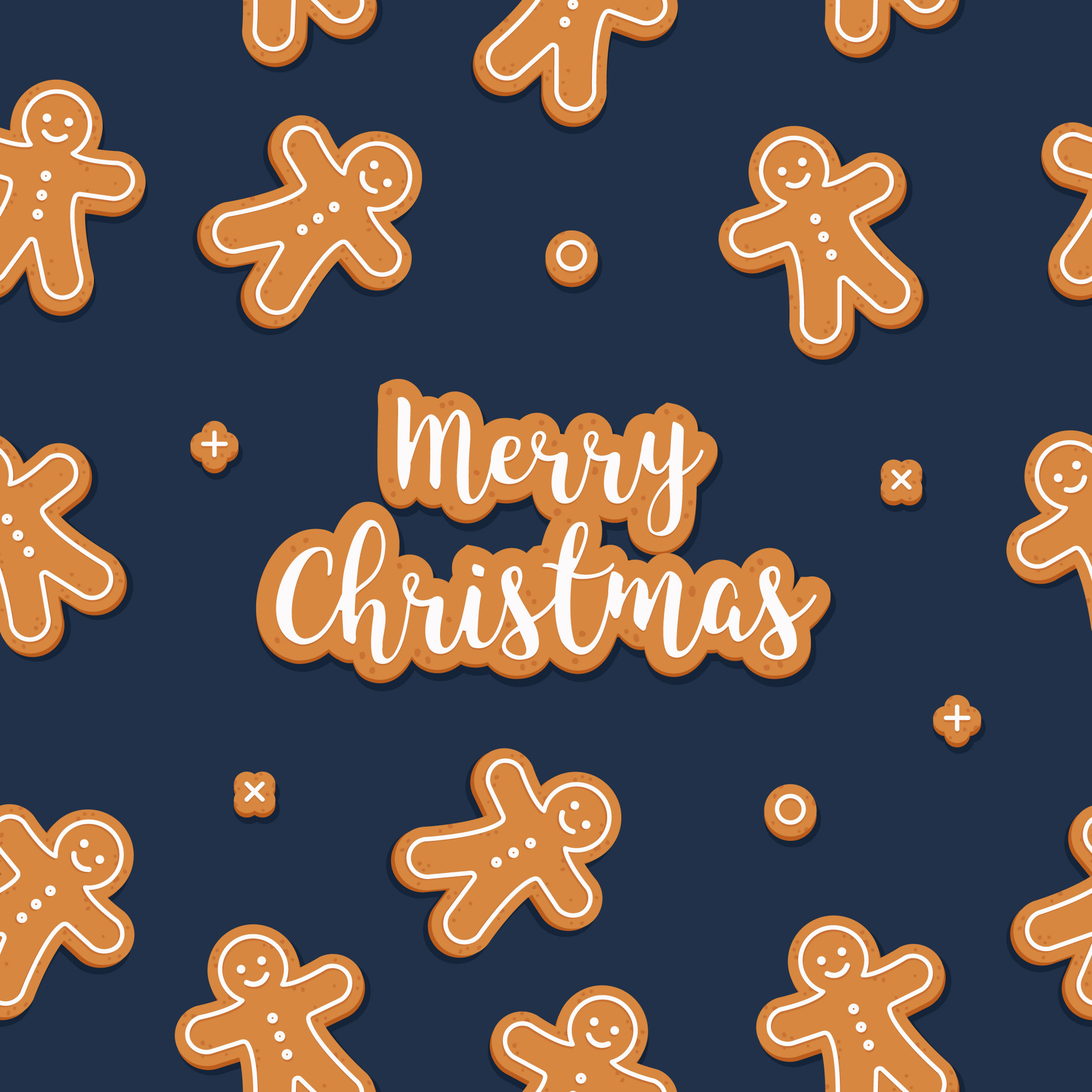 Gingerbread man cookie seamless pattern blue background