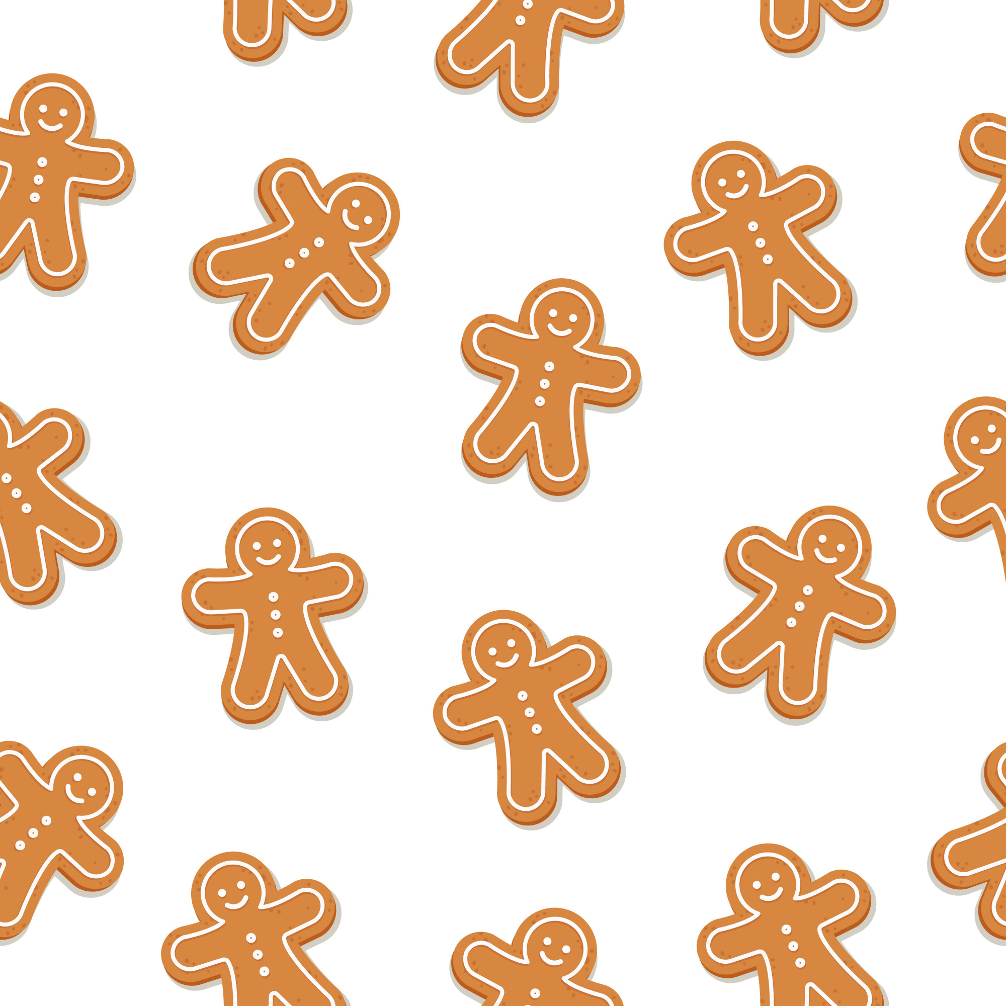 Gingerbread man cookie seamless pattern isolated background