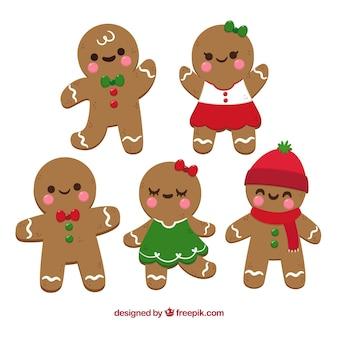 Gingerbread man cookies in cartoon style