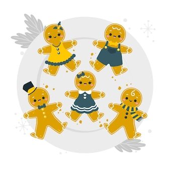 Gingerbread man cookies concept illustration