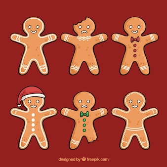 Gingerbread man cookies with bites taken off