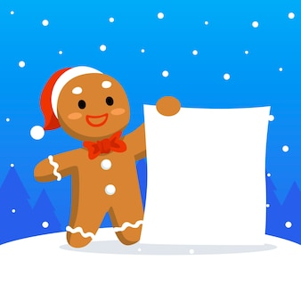 Gingerbread man holding blank banner