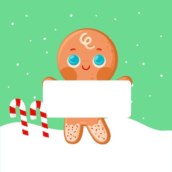 Gingerbread man holding blank banner