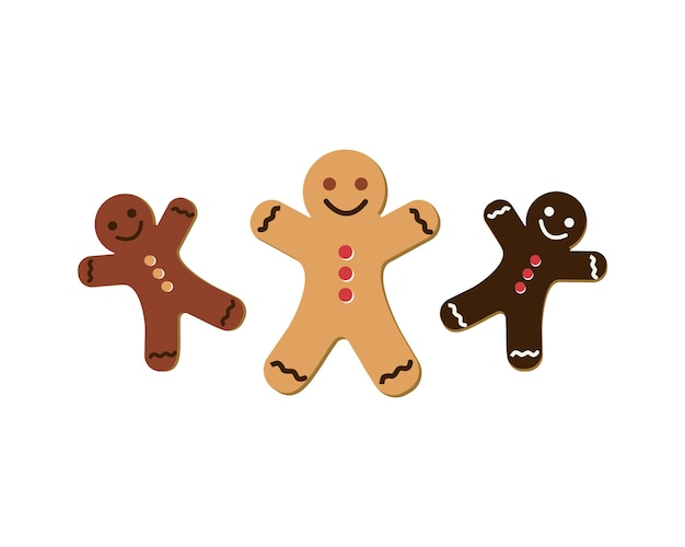 Gingerbread man icon set. vector illustration on the white background.