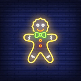 Gingerbread man neon cartoon character. night bright advertisement element.