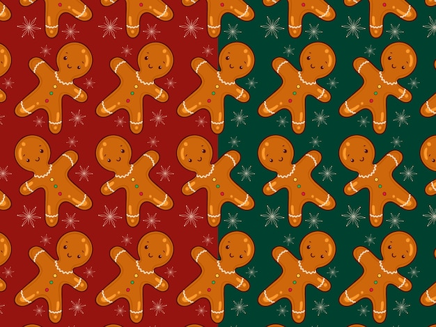 Gingerbread man patter in two colors red and green
