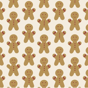Gingerbread man pattern background christmas cookies vector illustration