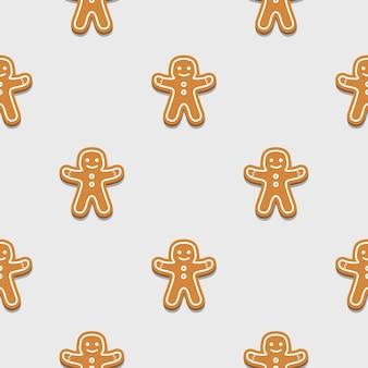 Gingerbread man seamless pattern background.