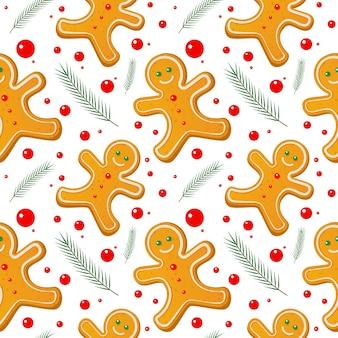 Пряничный человечек бесшовные модели. симпатичные векторные фон на новый год, рождество, зимний праздник, кулинария, канун нового года, еда. симпатичный рождественский фон.