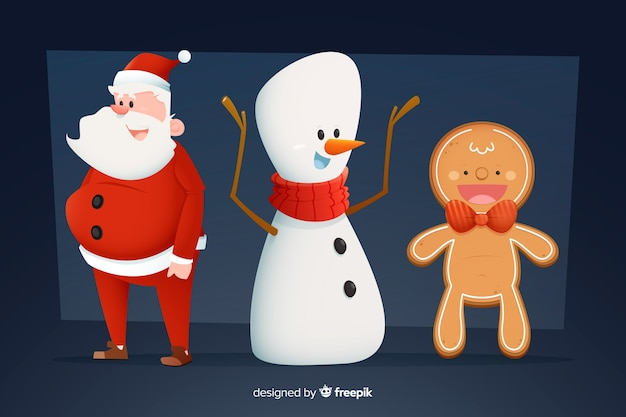 Gingerbread man snowman and santa claus christmas collection