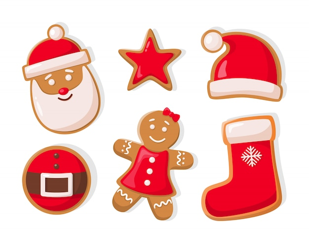Gingerbread man and star shaped cookies icons