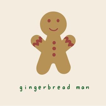 Gingerbread man symbol social media post christmas vector illustration