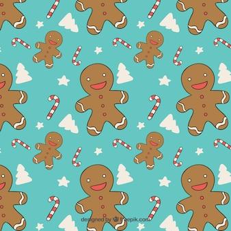 Gingerbread man turquoise pattern