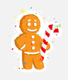 Gingerbread man with caramel cane.