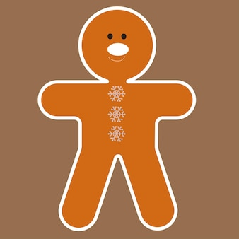 Пряничный человечек с белой глазурью. векторная иллюстрация плоский. рождественский образ.