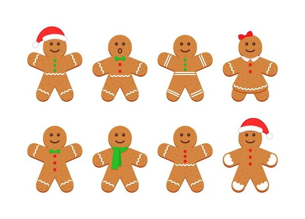 진저브레드맨. 크리스마스 귀여운 설탕 쿠키입니다. 벡터 일러스트 레이 션.