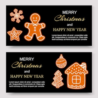 Gingerbread merry christmas banners and card design template.