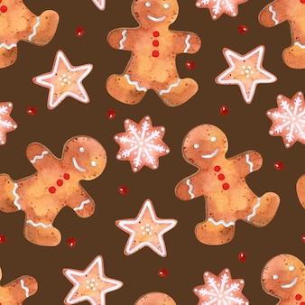 ジンジャーブレッドペストリー水彩シームレスパターンクリスマス壁紙