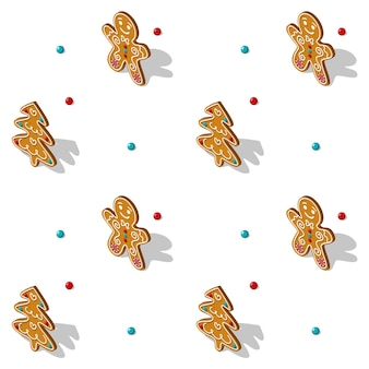 Gingerbread seamless isometric pattern in white background