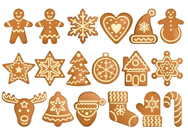 Gingerbread set vector objects forms gingerbread toys christmas and new year symbols icons