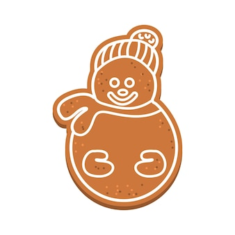 Gingerbread in the shape of a snowman with white icing