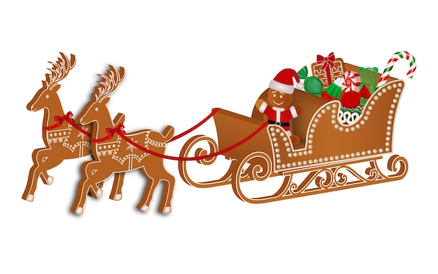 Gingerbread sleigh with gingerbread man and christmas candies