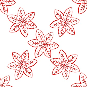 Gingerbread snowflake doodle seamless christmas pattern