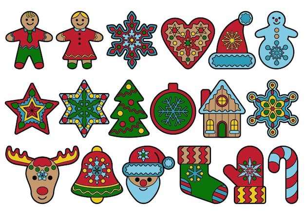 Gingerbread toys  outline set  holiday items collection christmas and new year symbols icons