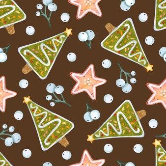 ジンジャーブレッドツリーとスタークッキーの水彩画のシームレスなパターン