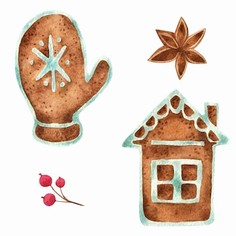 Gingerbread. watercolor composition