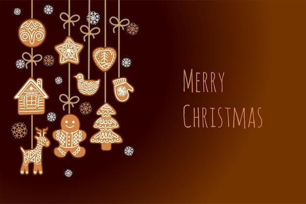 ジンジャーブレッド、ジンジャーブレッドマン、クリスマスデコレーション。装飾が施されたクリスマスの背景。
