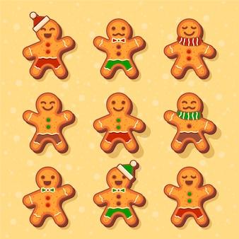 フラットなデザインgingerbream男のクッキーコレクション