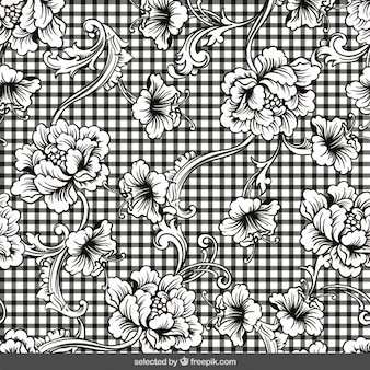 Gingham background with floral ornaments
