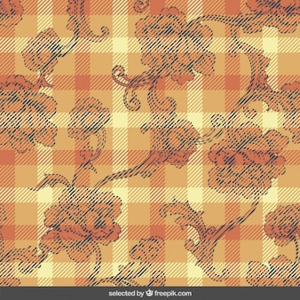 Gingham background with ornaments