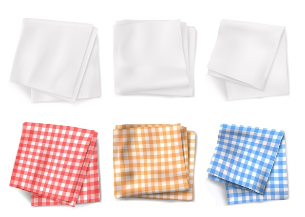 Gingham tablecloths and white kitchen towels top view