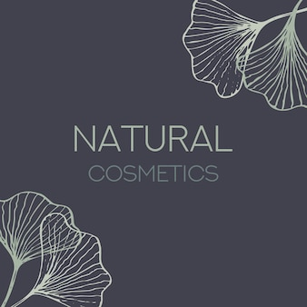 Ginkgo biloba hand drawn cosmetic label design template