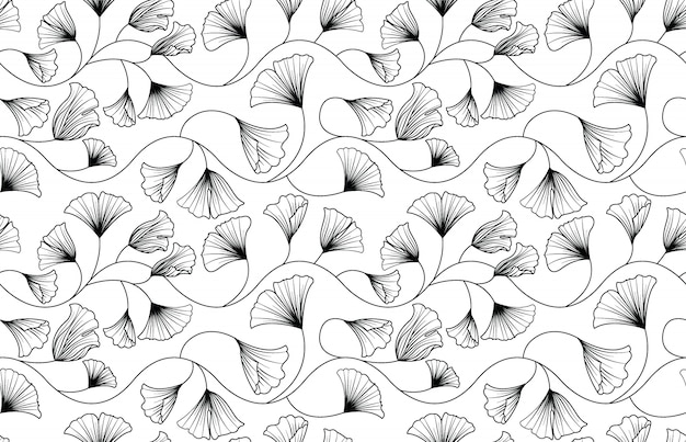 Ginkgo biloba leaves seamless pattern