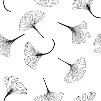 Ginkgo biloba seamless pattern leaves hand drawing on white backgrounds